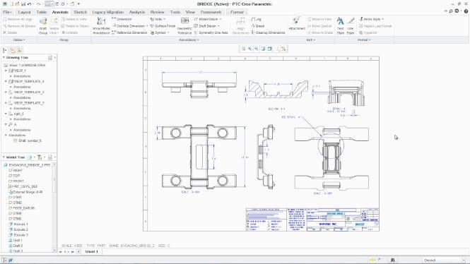 Creo változáskövető 2D-s rajzkészítés és 3D-s PMI